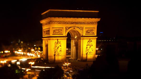 Arc Du Triomphe At Night Paris France 1