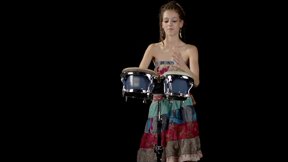Female Percussion Drummer Performing With Bongos 1