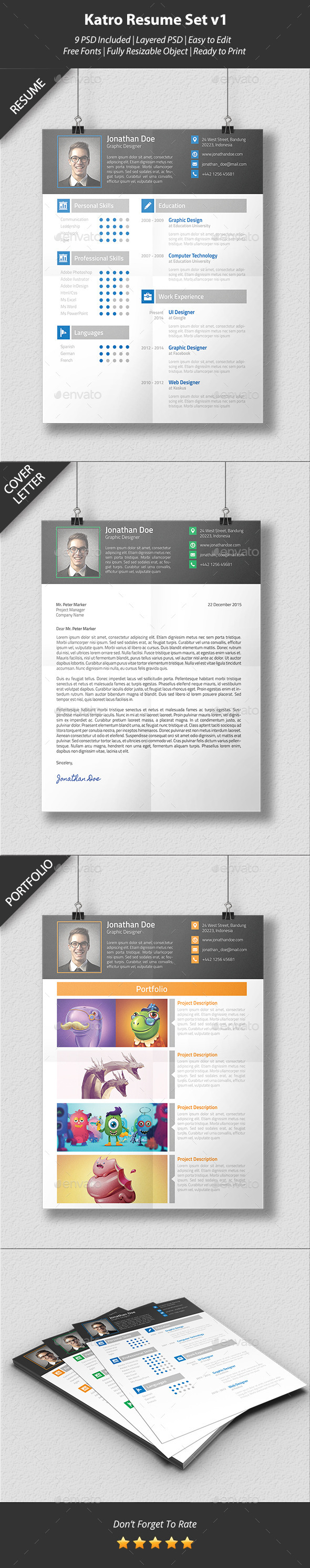 GraphicRiver Katro Resume Set v1 9849616