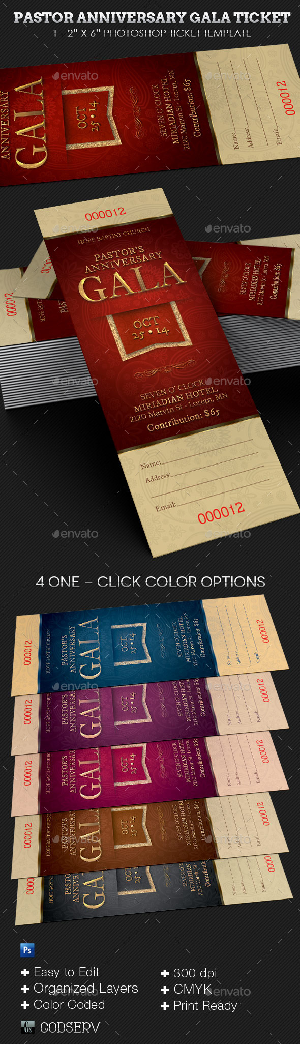 Pastor Anniversary Gala Ticket Template - Miscellaneous Print Templates