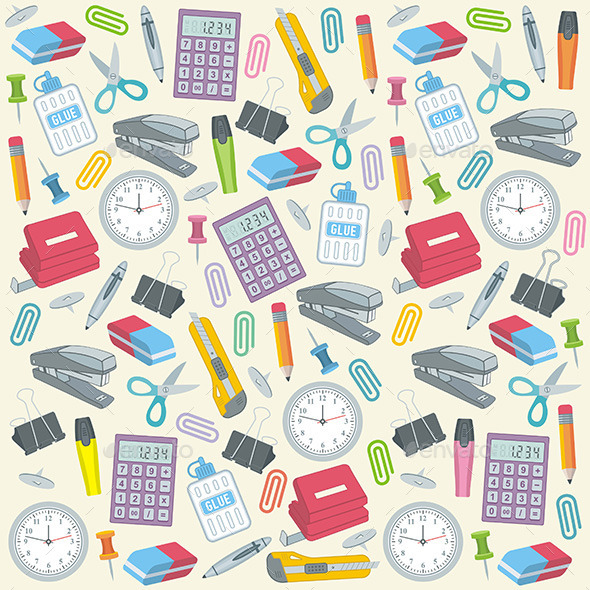 GraphicRiver Office Supplies Seamless Background 9849992
