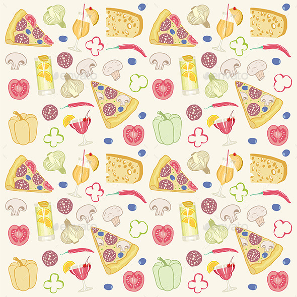GraphicRiver Pizza Seamless Pattern 9850018