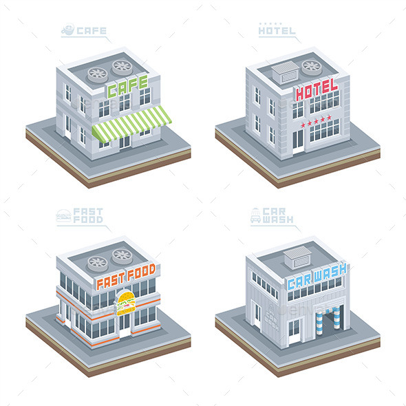 GraphicRiver Set of Isometric Buildings 9850065