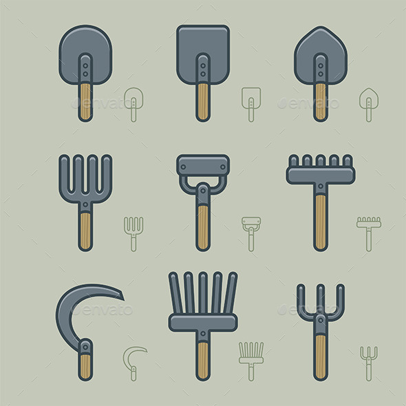 GraphicRiver Gardening Tools Icons 9850311