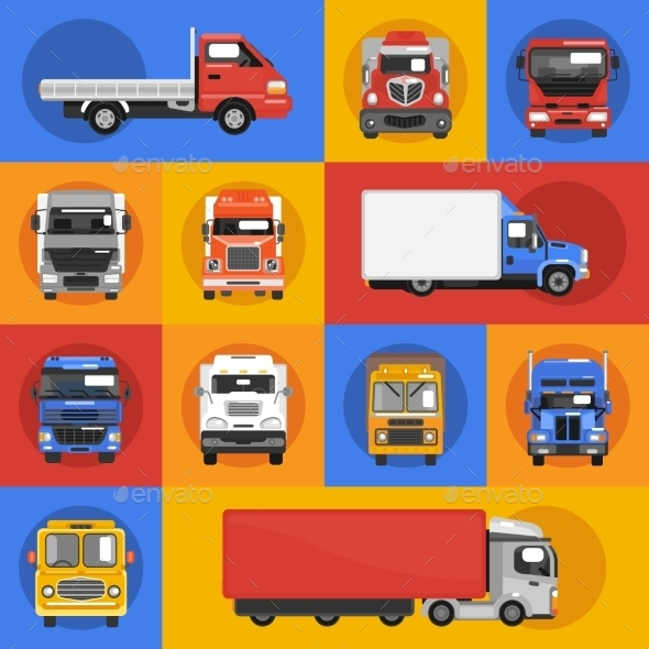 GraphicRiver Truck Icons Flat 9850942