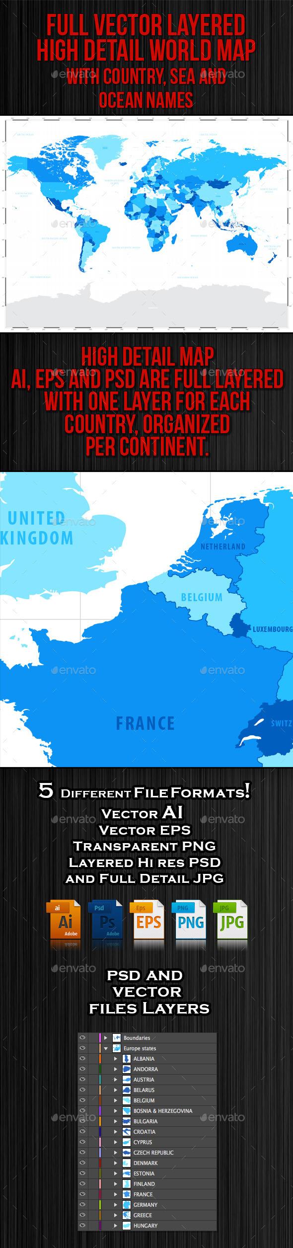 High Detail Blue World Map