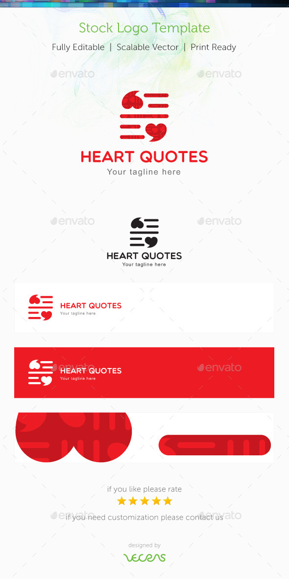 GraphicRiver Heart Quotes Stock Logo Template 9851024
