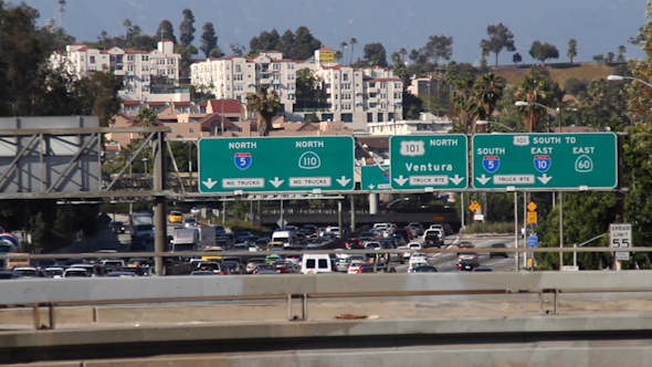 Traffic On Freeway In Downtown Los Angeles 2
