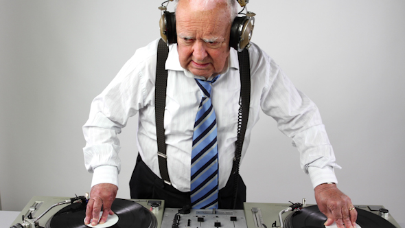 Very Funky Elderly Grandpa Dj Mixing Records 2
