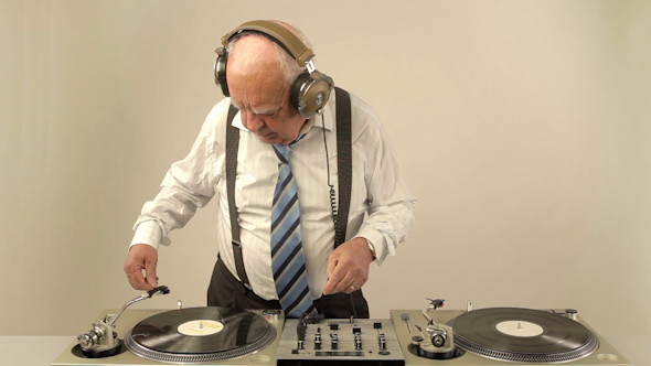Very Funky Elderly Grandpa Dj Mixing Records 4