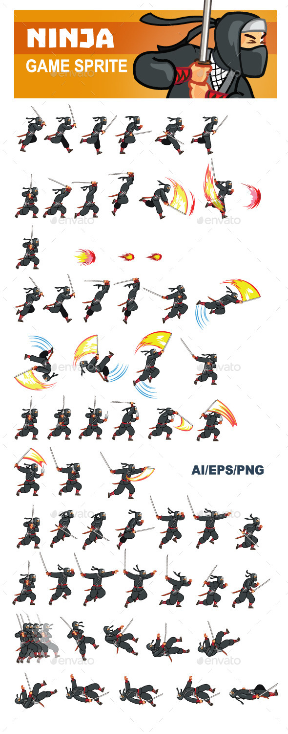 GraphicRiver Ninja Game Sprite 9852301