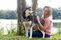 petting the dog - PhotoDune Item for Sale