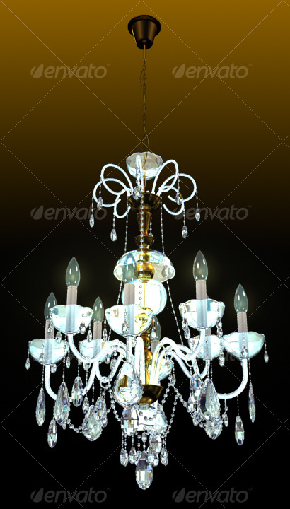 Bronze Crystal Chandelier - 3DOcean Item for Sale