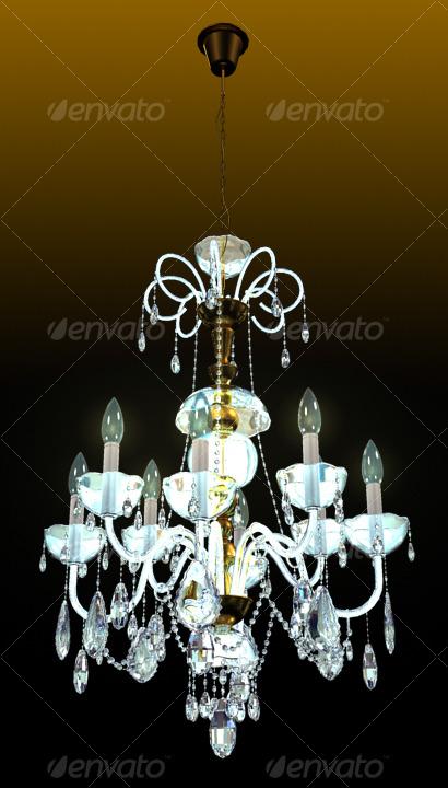 3DOcean Bronze Crystal Chandelier 125049