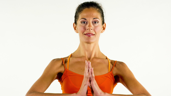 Yoga Teacher Poses On A White Background 1