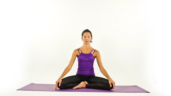 Yoga Teacher Poses On A White Background 2