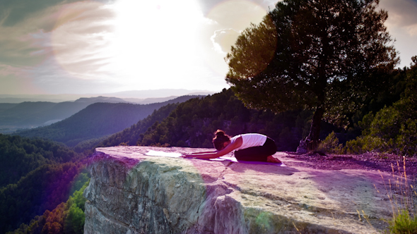 Yoga Teacher Amazing Sunset Mountain Clifftop