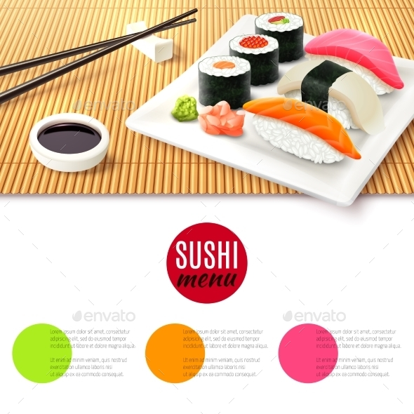 GraphicRiver Sushi and Bamboo Mat 9852740
