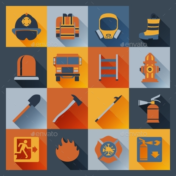 GraphicRiver Firefighter Icons Flat 9852751