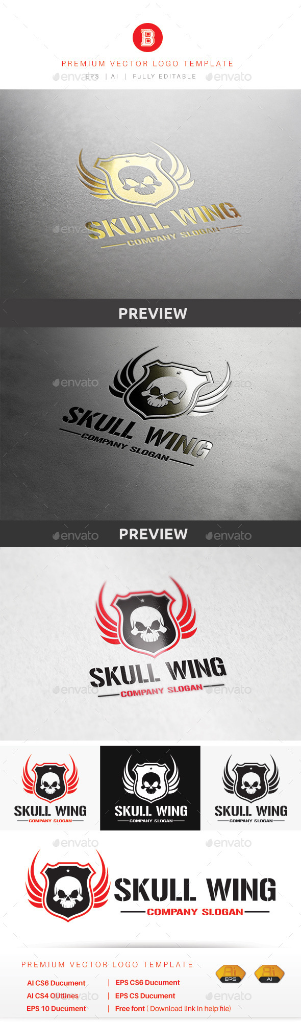 GraphicRiver Skull Wing 9852761