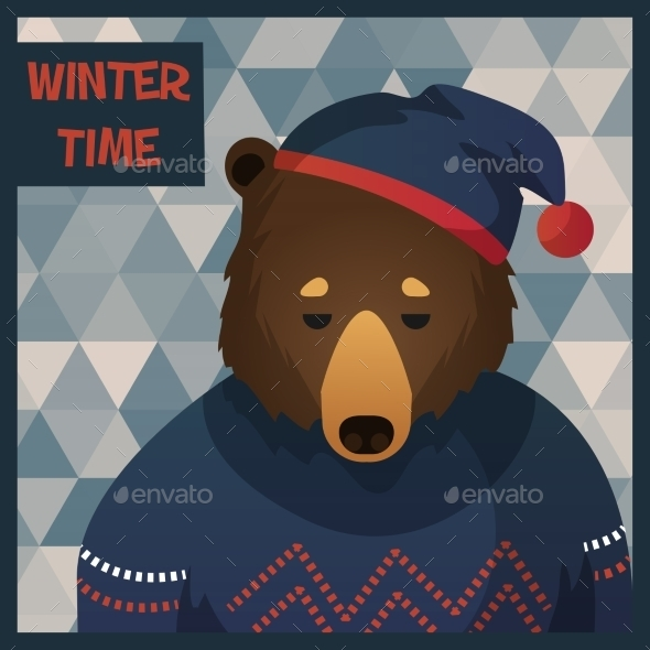 GraphicRiver Big Brown Hipster Bear in Sweater 9852835