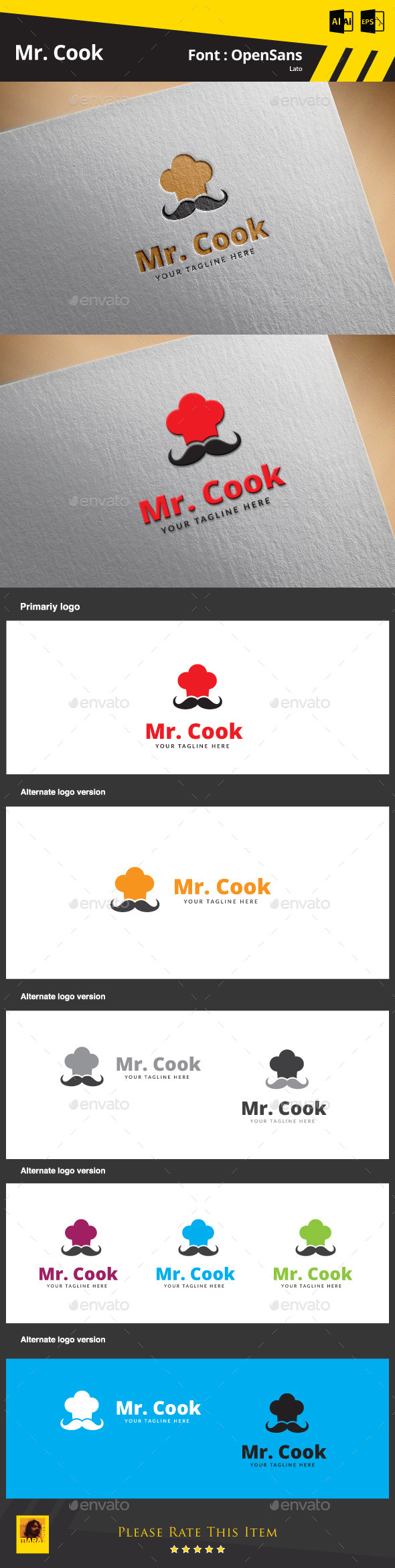 GraphicRiver Mr Cook Logo Template 9853454