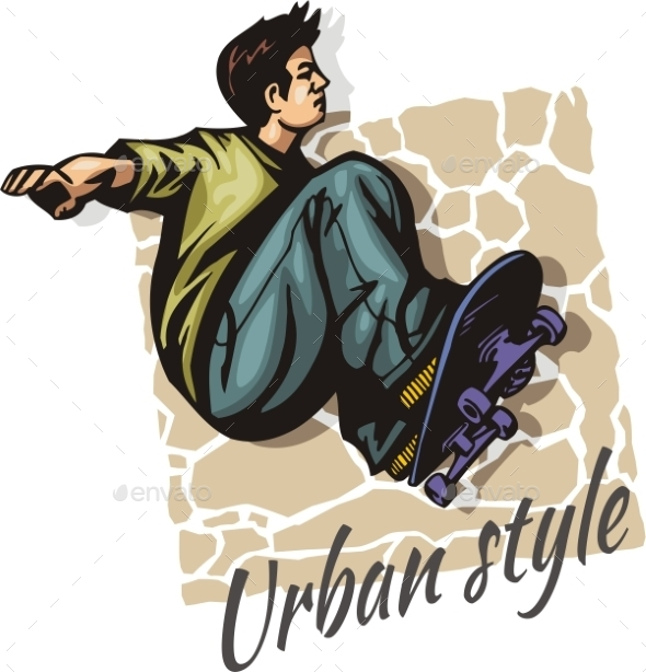 GraphicRiver Jump on a skateboard vector color illustration 9853470