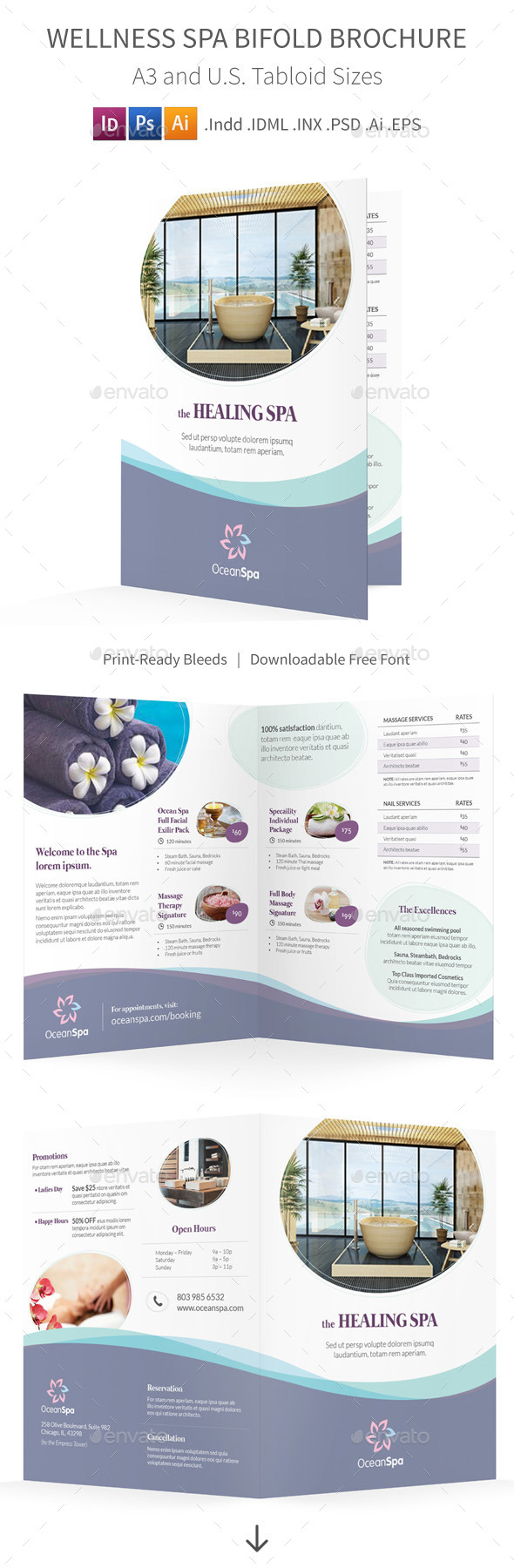 GraphicRiver Wellness Spa Bifold Halffold Brochure 9853622