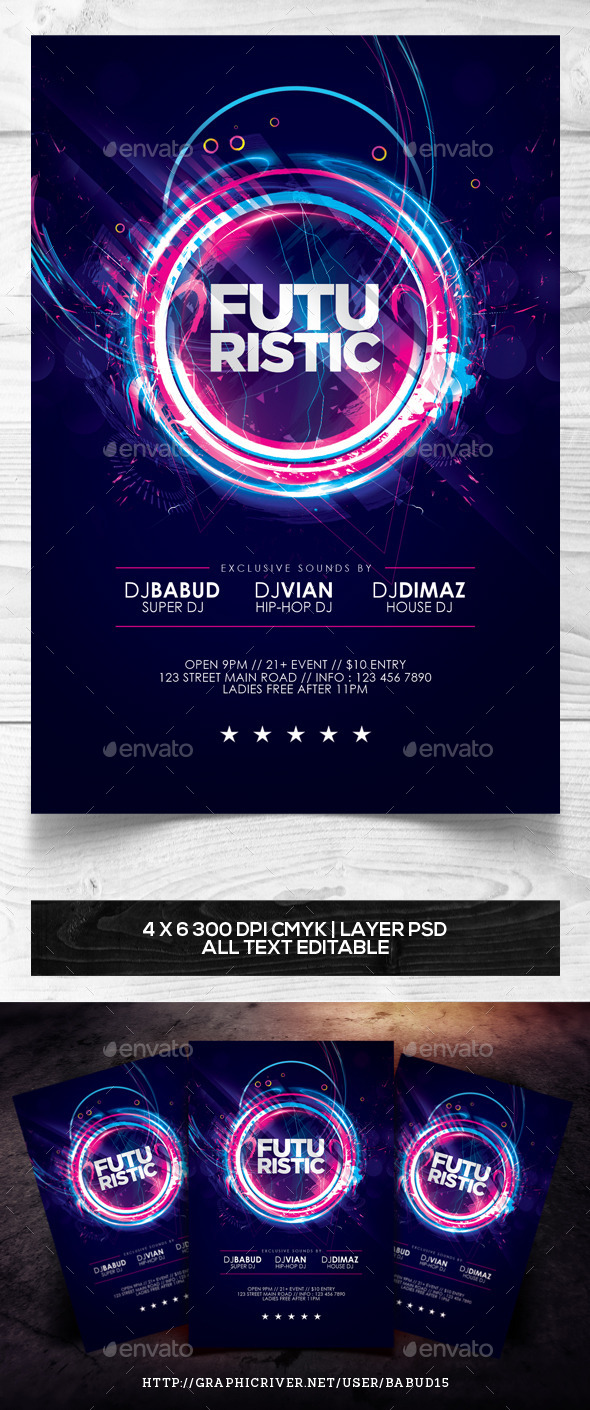 GraphicRiver Futuristic Flyer Template 9853671