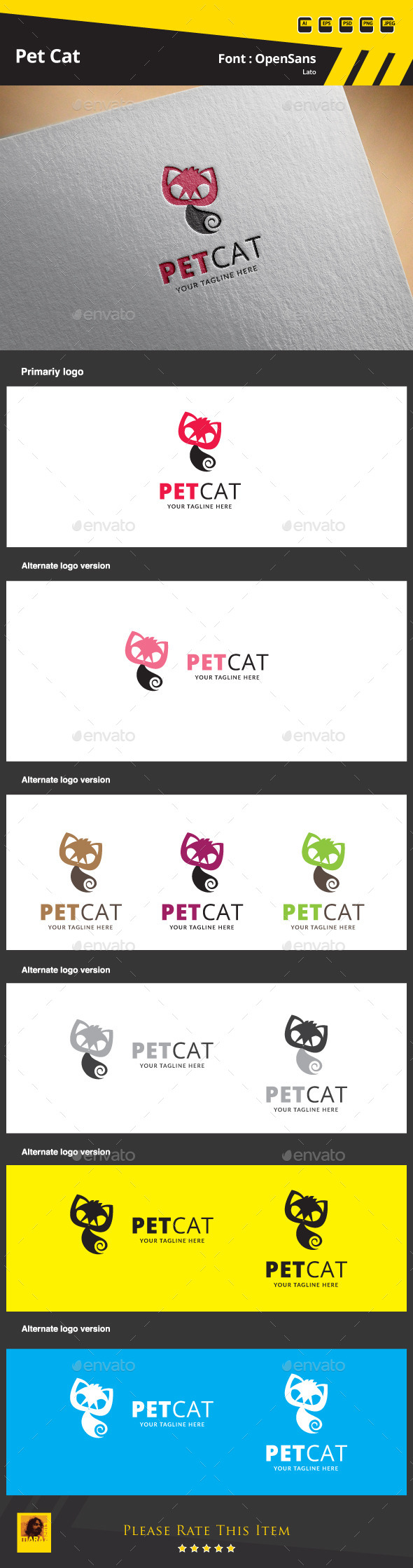 GraphicRiver Pet Cat Logo Template 9853798
