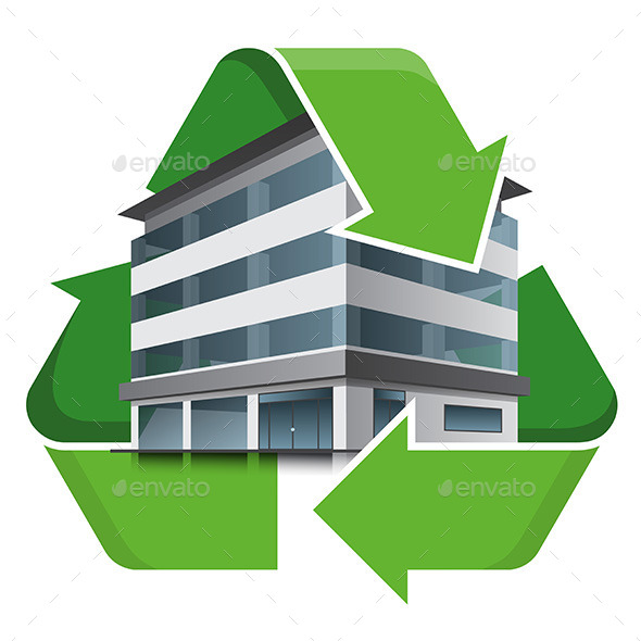 GraphicRiver Office Building Recycling Symbol 9853837