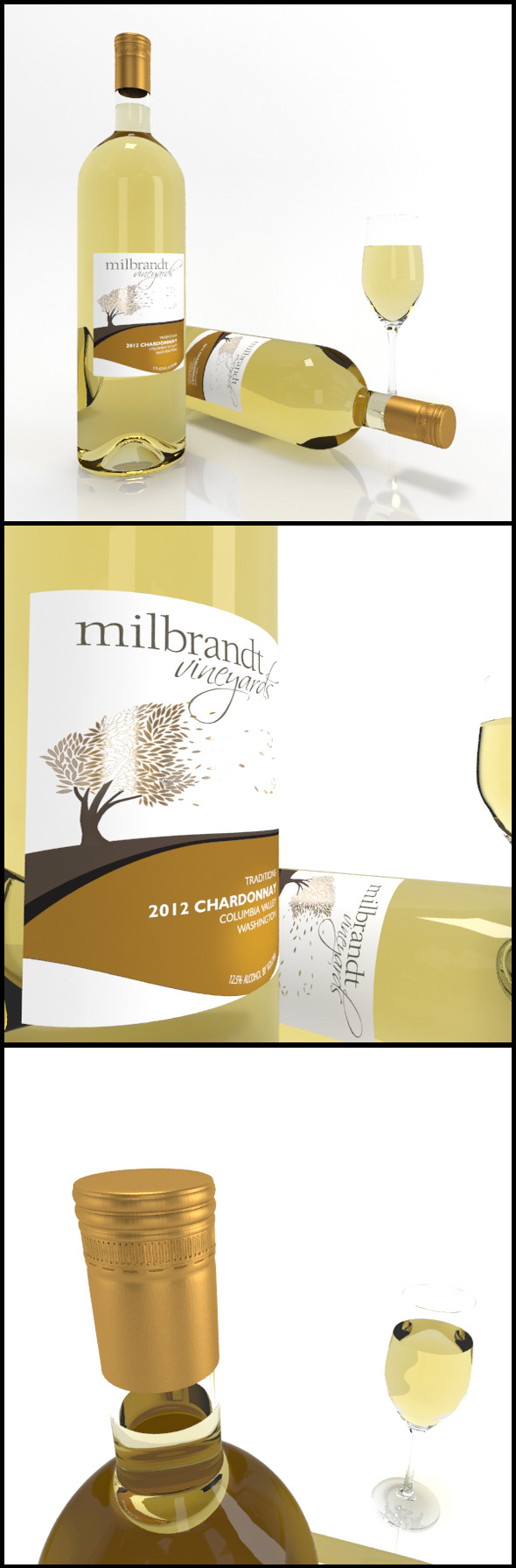 3DOcean Chardonnay wine bottles & full glass Milbrandt 9854028