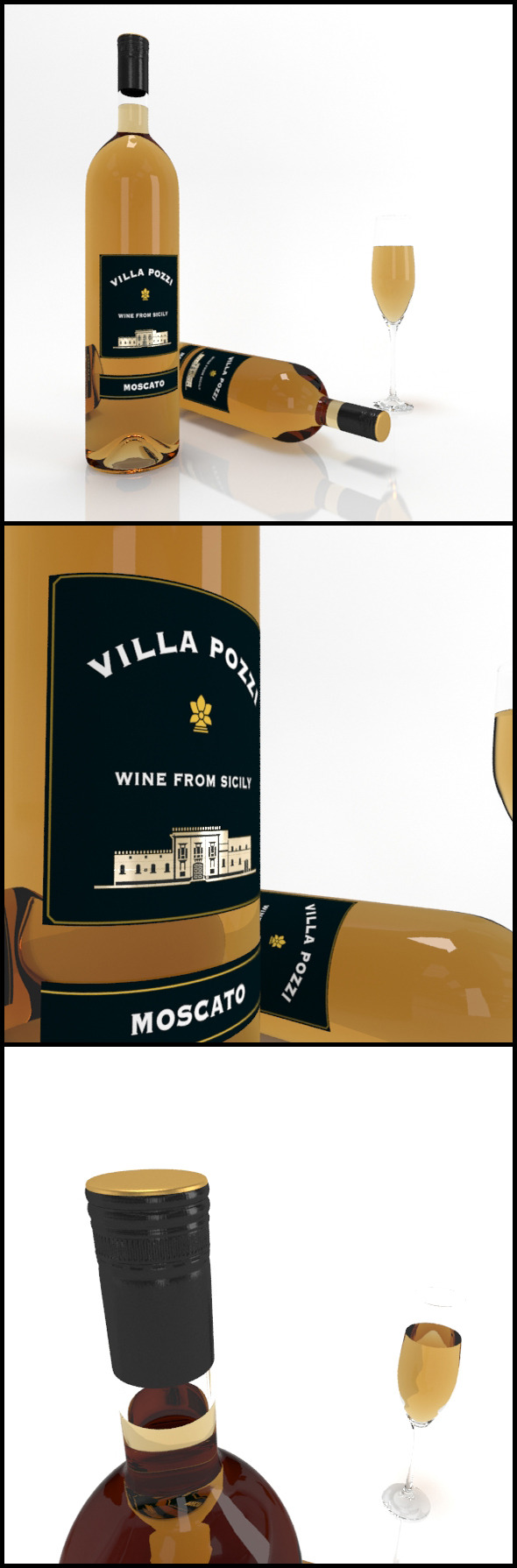 Moscato wine bottles & full glass: Villa Pozzi - 3DOcean Item for Sale