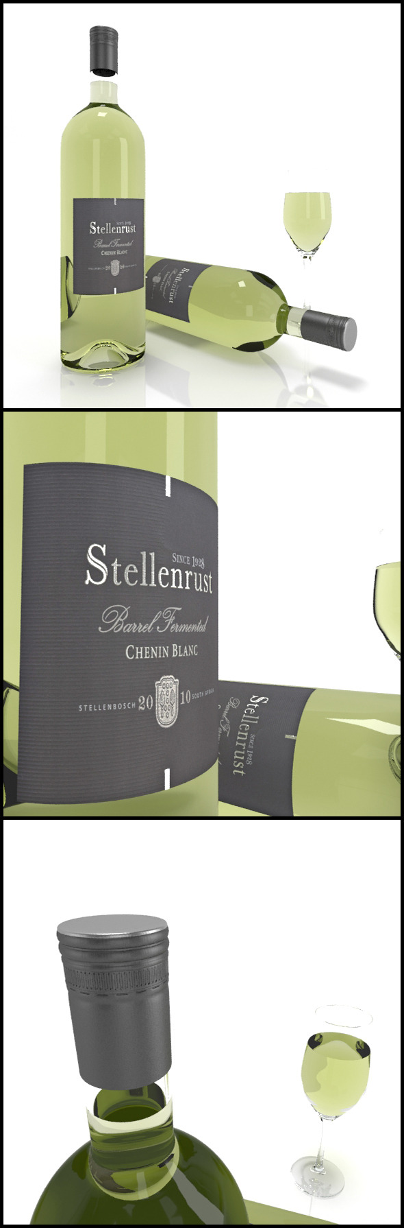 Chenin Blanc wine bottles, full glass: Stellenrust - 3DOcean Item for Sale