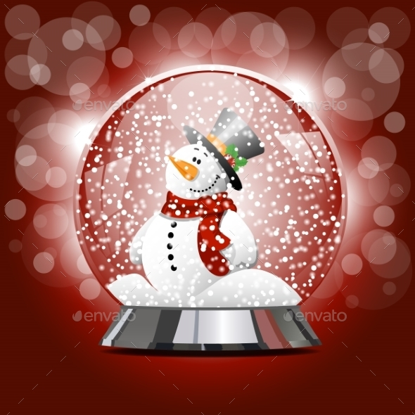GraphicRiver Globe with a Snowman 9854233