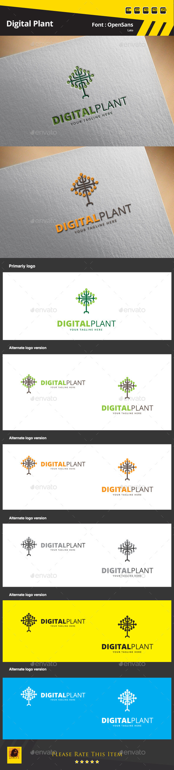 GraphicRiver Digital Plant Logo Template 9854507