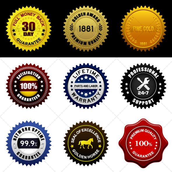 GraphicRiver Warranty Guarantee Gold Seal Badge Vintage Award 125100