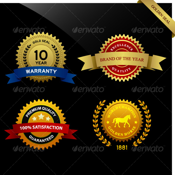 GraphicRiver Warranty Guarantee Gold Seal Ribbon Vintage Award 125101