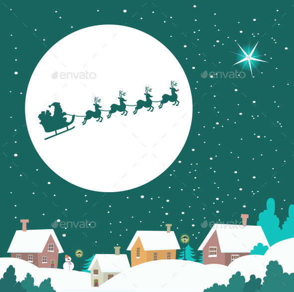 GraphicRiver Santa Riding His Sleigh Across the Winter Sky 9854709