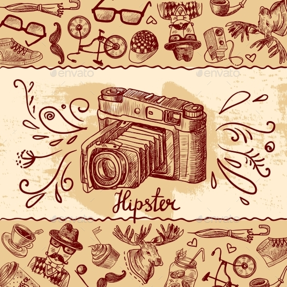 GraphicRiver Hipster Camera Background 9854719