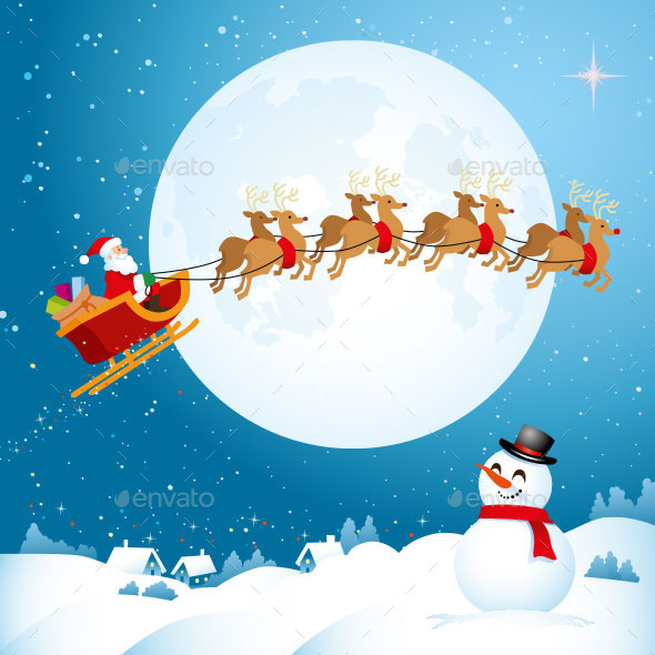 GraphicRiver Santa Travelling Across the Night Sky 9854724