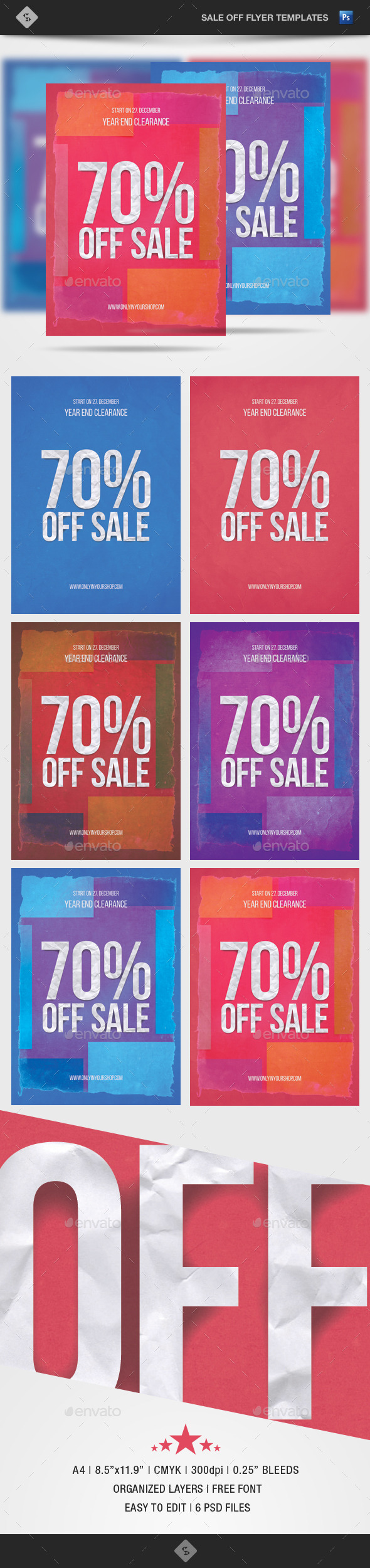 GraphicRiver Sale Off Flyer Template Paper Art A4 9854729