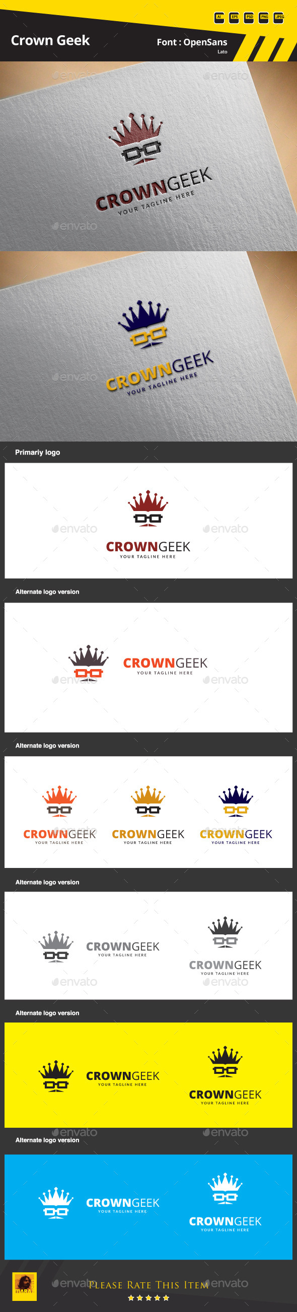GraphicRiver Crown Geek Logo Template 9854745