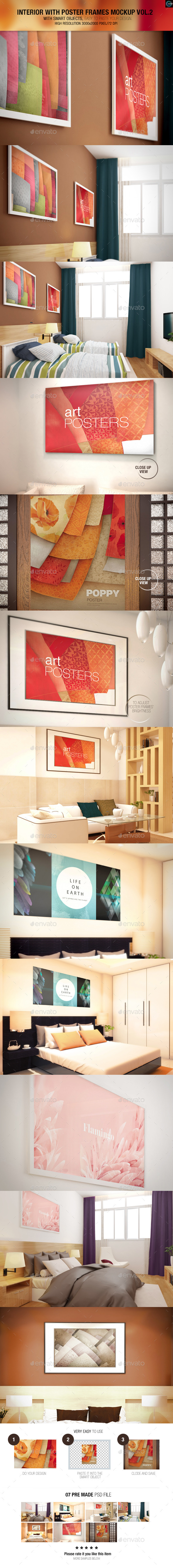 GraphicRiver Interior With Poster Frames Mock-up Vol.2 9854757