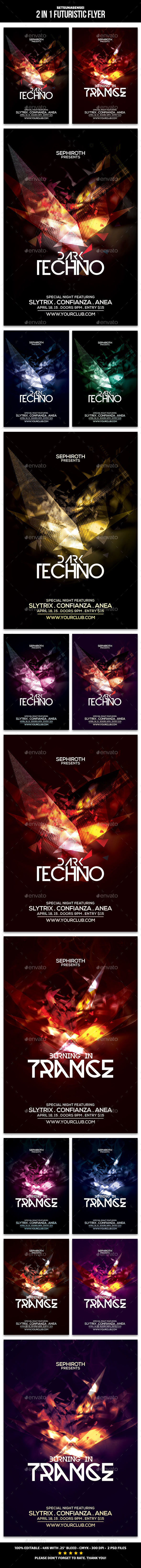 GraphicRiver 2 in 1 Futuristic Flyer 9820333