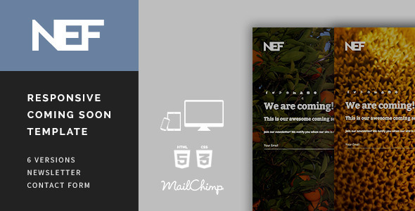 ThemeForest Nef Responsive Coming Soon Template 9854883