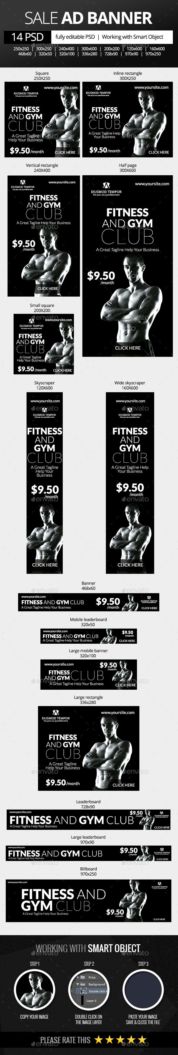 GraphicRiver Fitness and Gym Club Web Banners 9854982