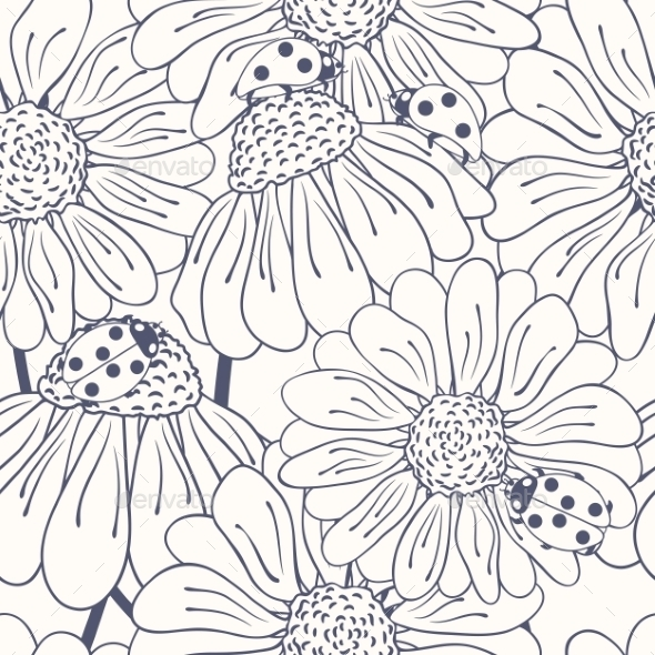 GraphicRiver Ladybug and Daisy Outline Seamless Pattern 9854990