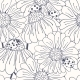 Ladybug and Daisy Outline Seamless Pattern - GraphicRiver Item for Sale