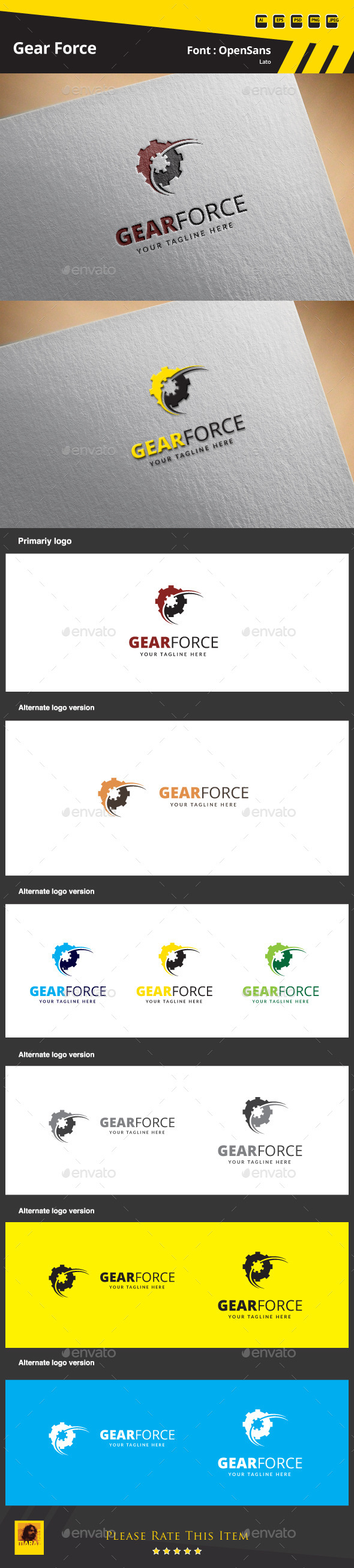 GraphicRiver Gear Force Logo Template 9855053
